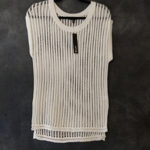 APT. 9 | NWT White Open Knit Cap Sleeve Sweater XS